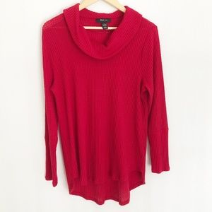 Style & Co Red Cowl Neck Lightweight Sweater